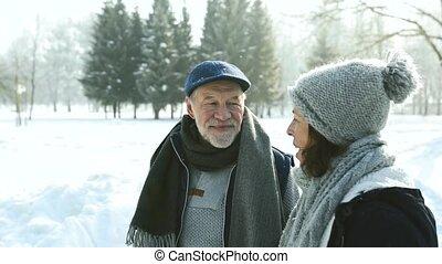 Senior couple in sunny winter nature. - Beautiful senior...