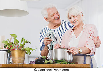 Senior couple in the kitchen