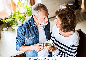 Senior couple in the kitchen.