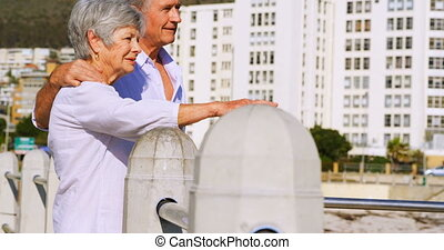 Senior couple interacting while standing near seaside 4k -...