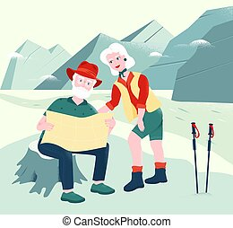 Senior couple is exploring the map in mountains. Scrambling, hiking and climbing attributes like trekking poles, a map, hiking boots. Active leisure and special offers for older people. Elders seeing the world. Senior tourism and burning tickets.