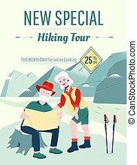 Senior couple is exploring the map in mountains. Scrambling, hiking and climbing attributes like trekking poles, a map, hiking boots. Active leisure and special offers for older people flyer template.