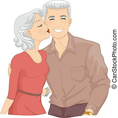 Illustration of an Elderly Woman Kissing the Cheek of an Elderly Man