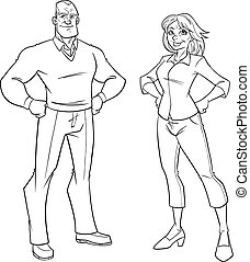 Senior Couple Line Art