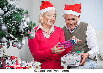 Senior Couple Looking At Christmas Presents
