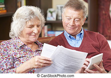 Senior Couple Looking At Domestic Finances Together