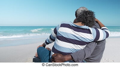 Senior couple looking at the beach