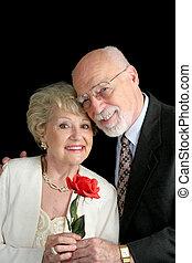 Senior Couple Love - A handsome, romantic, senior couple...