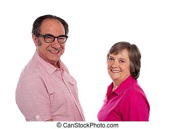 Senior couple. Love birds posing