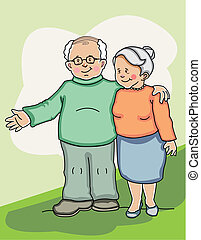 Loving senior couple. Made in layers. Completely editable.
