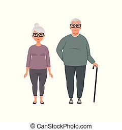 Senior couple, man and woman of advanced age vector Illustration on a white background