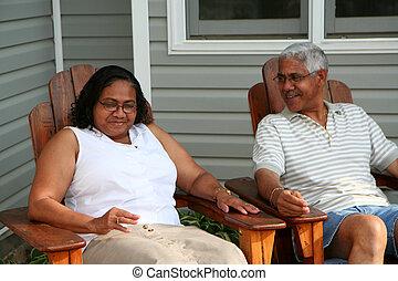 Senior Couple - Minority couple at their home