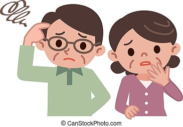 Senior couple of troubled look - Vector illustration.
