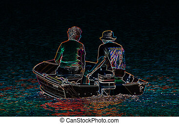 Senior couple on a motor boat