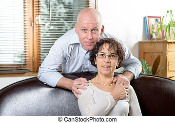 Senior couple on a sofa