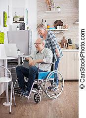 Senior couple on a video call