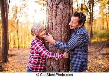 Senior couple on a walk in an autumn forest. - Active senior...