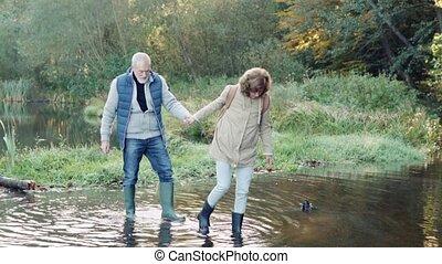 Senior couple on a walk in autumn nature. - Active senior...