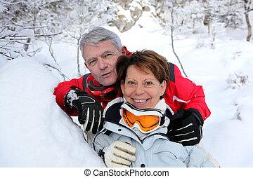 senior couple on a winter vacation