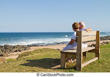 senior couple on bench