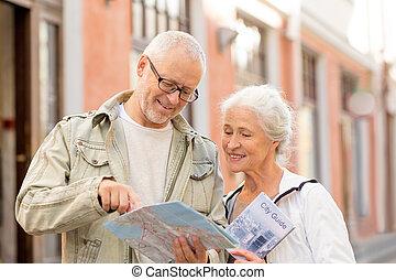 senior couple on city street