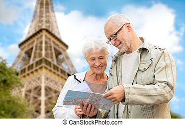 senior couple on city street - family, age, tourism, travel...