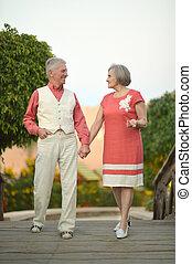 Senior couple on the walk