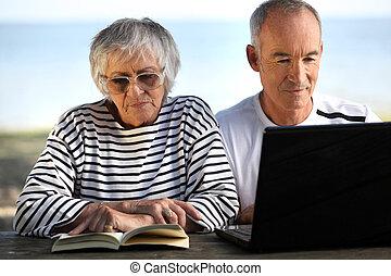 senior couple on vacation