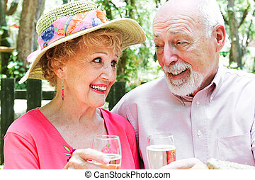 Senior Couple - Outdoor Toast