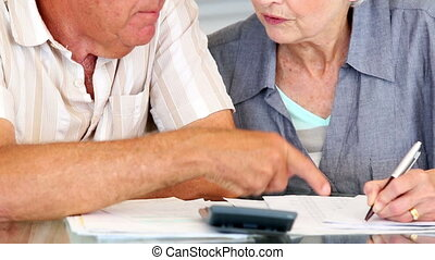 Senior couple paying their bills
