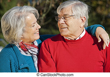 Senior couple in nature background