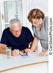 Senior Couple Playing Leisure Games - Concentrated senior...
