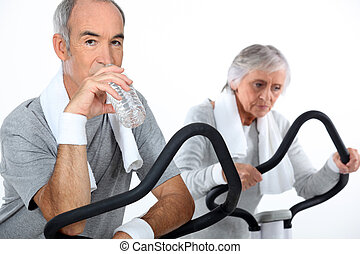 Senior couple playing sports
