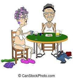 Senior couple Playing Strip Poker. - Cartoon-style...