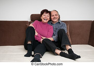 Senior couple - portrait at home
