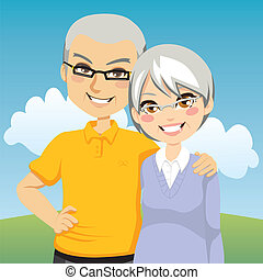 Portrait illustration of lovely cheerful retired couple together