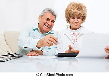 senior couple read paper letter, happy smile