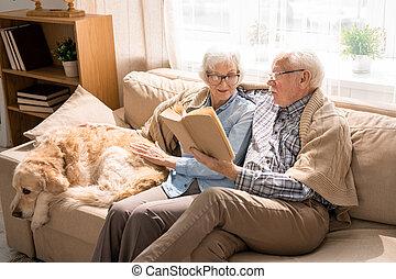 Senior Couple Reading Books