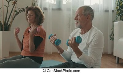Senior couple relaxing at home, exercising.