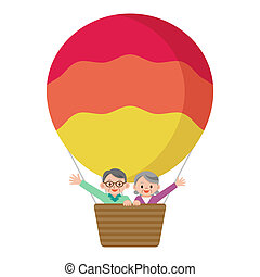Senior couple riding a balloon