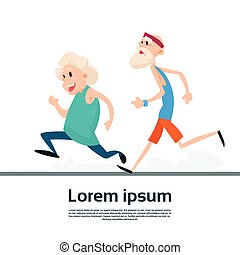 Senior Couple Running Old Man Woman Joggers Sport Fitness Exercise Workout