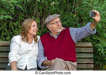 Senior couple Self-portrait - Senior man and senior woman...