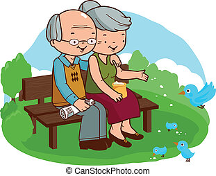 Senior couple sitting on a bench at the park. Vector illustration