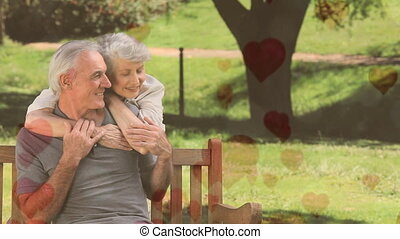 Senior couple sitting on a bench in a park