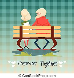 Senior Couple Sitting On Bench Forever Together Grandparents Day Greeting Card