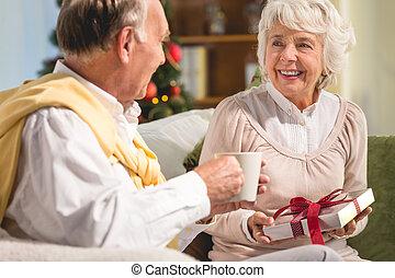 Senior couple spending Christmas together
