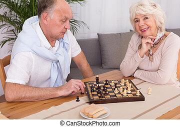 Senior couple spending evening together