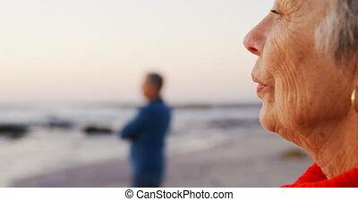 Senior couple standing in the beach 4k - Senior couple...