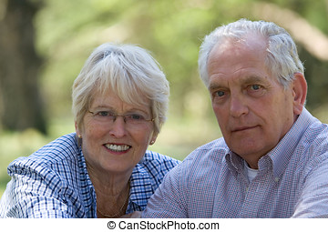 Senior couple - Lovely senior couple outdoors on a summerday...