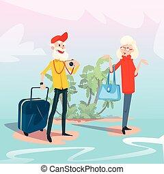 Senior Couple Summer Tropical Island Seaside Vacation